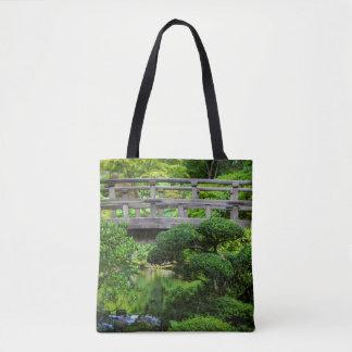 Bridge Over Pond In The Japanese Garden Tote Bag