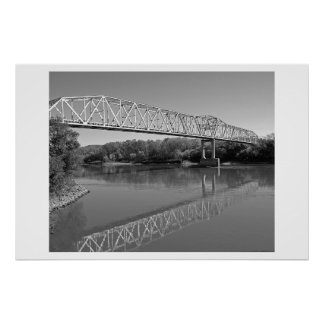 Bridge Over The River Missouri (B & W) Poster