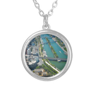 Bridge over the river Seine in Paris, France Silver Plated Necklace