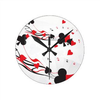 Bridge Poker Card Games Black Red Round Clock