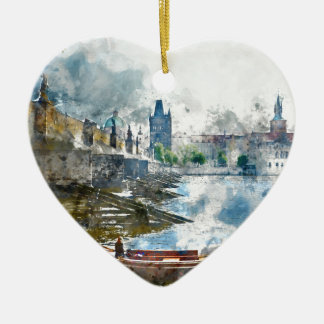 Bridge with small boat in Prague, Czech Republic Ceramic Heart Ornament