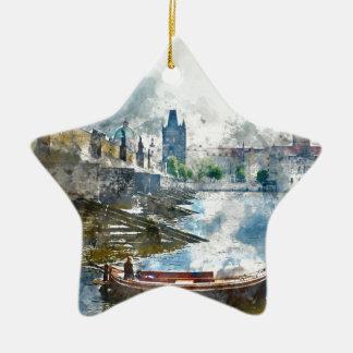 Bridge with small boat in Prague, Czech Republic Ceramic Star Ornament