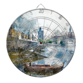 Bridge with small boat in Prague, Czech Republic Dartboards