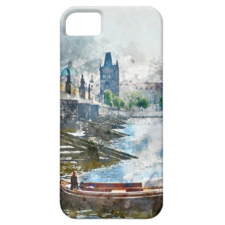 Bridge with small boat in Prague, Czech Republic iPhone 5 Covers