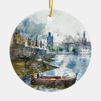 Bridge with small boat in Prague, Czech Republic Round Ceramic Ornament