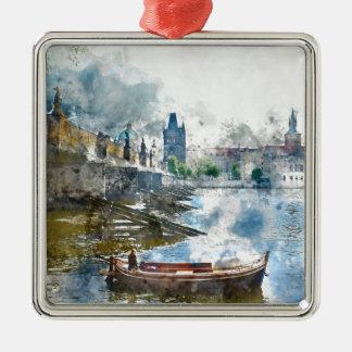Bridge with small boat in Prague, Czech Republic Silver-Colored Square Ornament