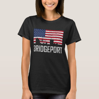 Bridgeport Connecticut Skyline American Flag Distr T-Shirt