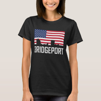 Bridgeport Connecticut Skyline American Flag T-Shirt