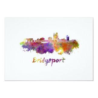 Bridgeport skyline in watercolor card