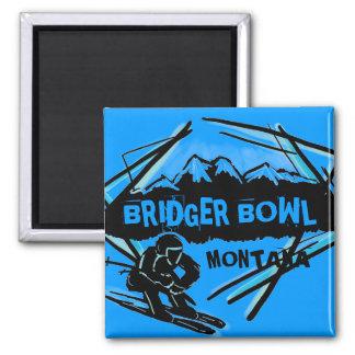 Bridger Bowl Montana blue skier magnet