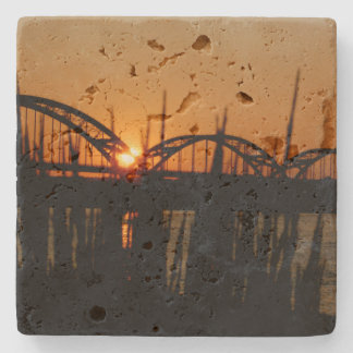 Bridges Davenport Iowa Travertine Tile Coaster