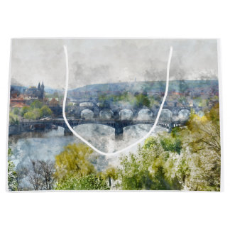 Bridges in Prague Czech Republic Large Gift Bag