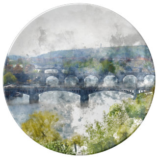 Bridges in Prague Czech Republic Plate