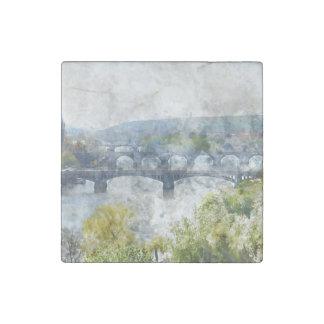 Bridges in Prague Czech Republic Stone Magnets