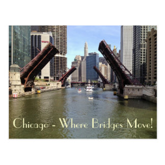 Bridges Raised for Sailboats on the Chicago River Post Card