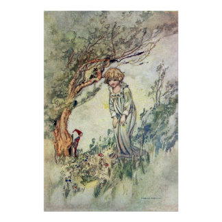 Bridget and Gnome by Charles Robinson Poster