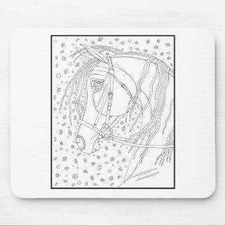 Bridled Horse Line Art Design Mouse Pad