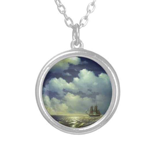Brig Mercury after the Victory over Turkish Ships. Silver Plated Necklace