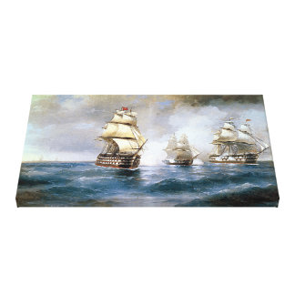 Brig Mercury Attacked by Two Turkish Ships Canvas Print