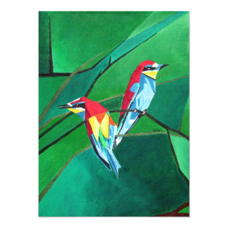 Brighly Colored European Bee-eaters Personalized Invitations