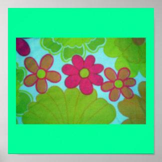 Bright 70 s Flower Design Poster