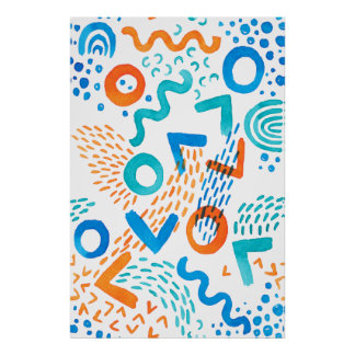 Bright Abstract Art Watercolor Painting Patterns Poster