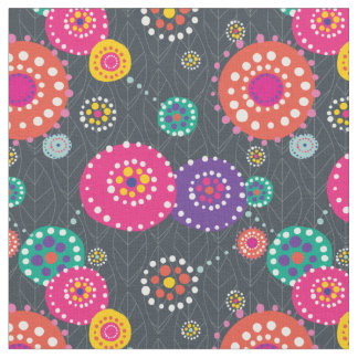 Bright Abstract Floral Print Fabric