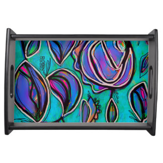 Bright Abstract Floral Serving Tray