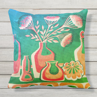 Bright abstract home kitchen design outdoor pillow