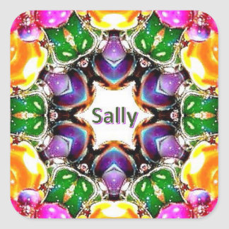 ~ Bright Abstract Pattern ~ Personalised SALLY ~ Square Sticker