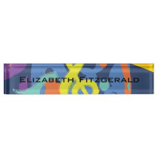 Bright Abstract Treble Clef Music Notes Name Plate