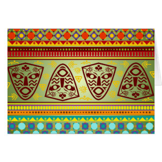 Bright African Mask Tribal Pattern Card