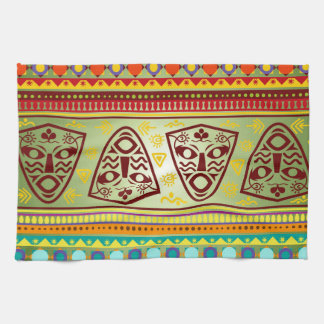 Bright African Mask Tribal Pattern Kitchen Towel