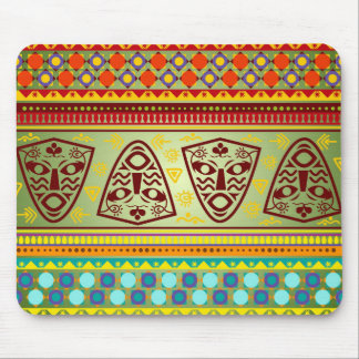 Bright African Mask Tribal Pattern Mouse Pad