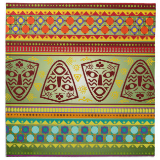 Bright African Mask Tribal Pattern Napkin
