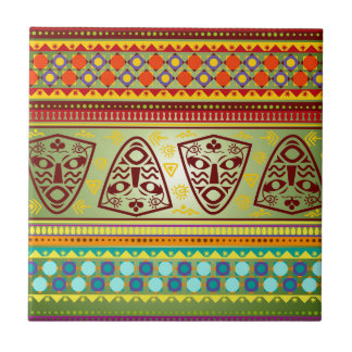 Bright African Mask Tribal Pattern Tile
