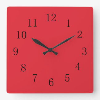 Bright Alizarin Red Square Wall Clock