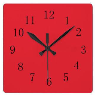 Bright Alizarin Red Wall Clocks