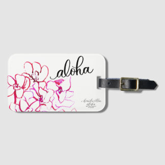 Bright Aloha Orchid Flower Luggage Tag