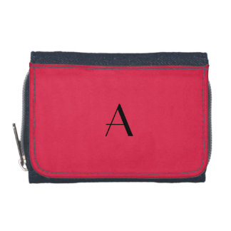 Bright Amaranth Red Denim Wallet w/ Black Monogram