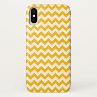 Bright Amber Orange & White Stripe Chevron Pattern Case-Mate iPhone Case