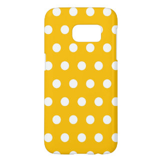 Bright Amber Yellow And White Polka Dots Pattern Samsung Galaxy S7 Case