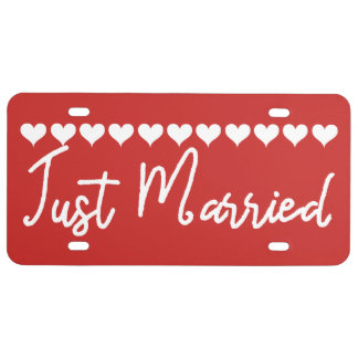 Bright And Bold Just Married Tags License Plate