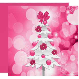 Bright and Bold Pink Christmas with White Tree Card