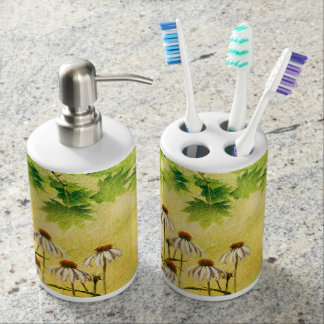 Bright and cheerful white cone flowers soap dispenser and toothbrush holder