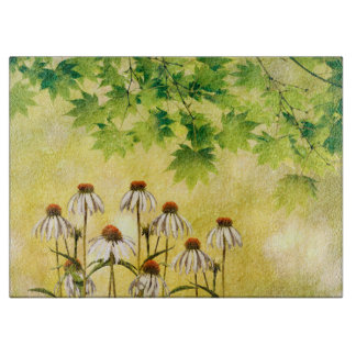 Bright and cheerful white echinacea flowers cutting board