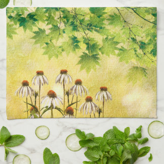 Bright and cheerful white echinacea flowers kitchen towel