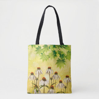 Bright and cheerful white echinacea flowers tote bag