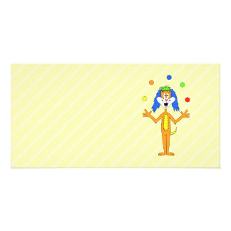Bright and Colorful Cartoon Dog Juggling. Photo Greeting Card