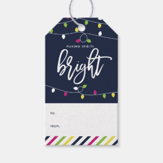Bright and Colorful Christmas Lights Holiday Gift Tags